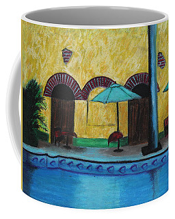 Coffee Mug featuring the painting By The Poolside by Jeanne Fischer