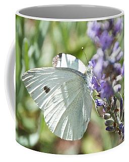 Cabbage White On Lavender  Coffee Mug