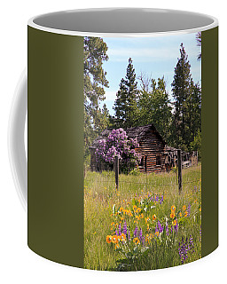 Coffee Mug featuring the photograph Cabin And Wildflowers by Athena Mckinzie