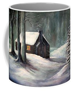 Cabin In The Woods Coffee Mug by Hazel Holland