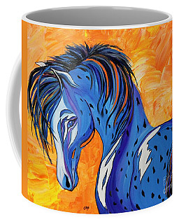 Coffee Mug featuring the painting Cadet The Blue Horse by Janice Rae Pariza
