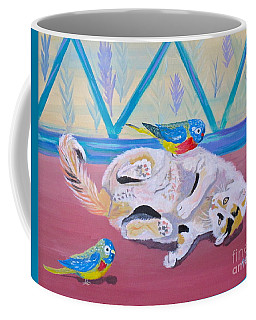 Coffee Mug featuring the painting Calico And Friends by Phyllis Kaltenbach