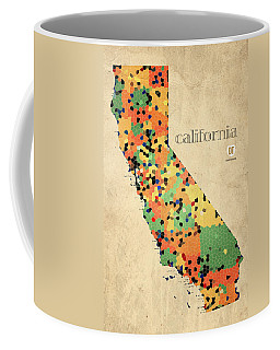 California Map Crystalized Counties On Worn Canvas By Design Turnpike Coffee Mug