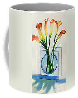 Coffee Mug featuring the painting Calla Lilies by Kathy Braud