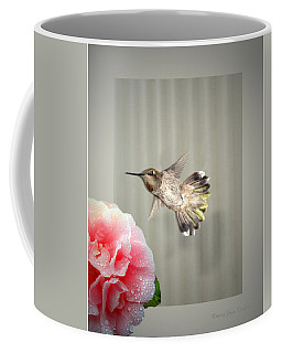 Coffee Mug featuring the photograph Camellia And Hummer by Joyce Dickens