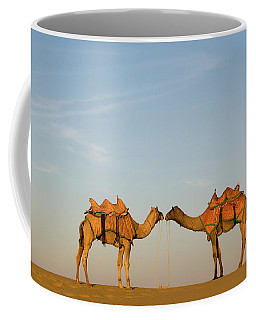 Camels Stand Face To Face In The Thar Coffee Mug