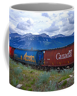 Canadian Freight Train In Jasper #2 Coffee Mug