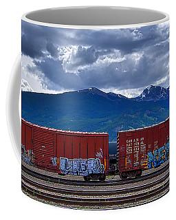 Canadian Freight Train In Jasper Coffee Mug by Stuart Litoff