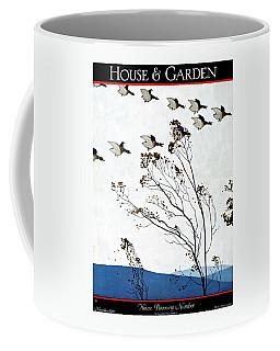 Canadian Geese Over Brown-leafed Trees Coffee Mug