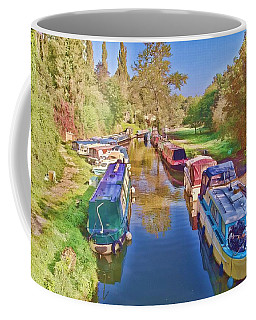 Coffee Mug featuring the photograph Canal Barges by Paul Gulliver