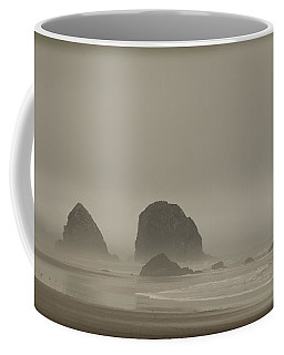 Coffee Mug featuring the photograph Cannon Beach In A Fog Oregon by Yulia Kazansky
