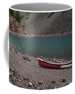 Canoe At Moraine Lake Coffee Mug by Cheryl Miller