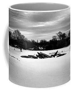 Canoes In The Snow - Monochrome Coffee Mug
