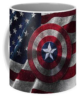 Captain America Shield On Usa Flag Coffee Mug
