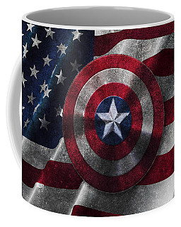 Captain America Shield On Usa Flag Coffee Mug