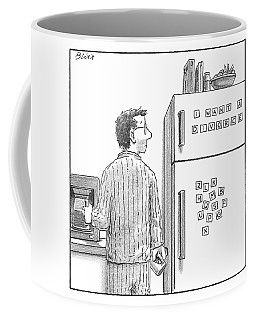 Captionless. Man In Pajamas Making Coffee Looks Coffee Mug