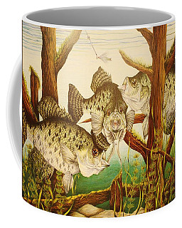 Coffee Mug featuring the drawing Captivating Crappies by Bruce Bley