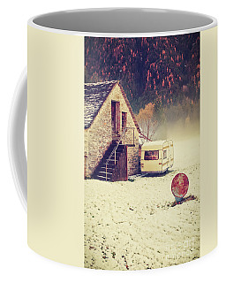 Caravan In The Snow With House And Wood Coffee Mug