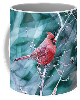 Coffee Mug featuring the painting Cardinal In Winter by Joshua Martin