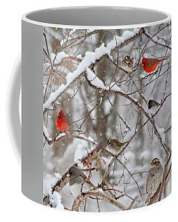 Cardinal Meeting In The Snow Coffee Mug