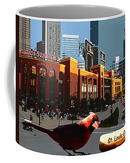 Coffee Mug featuring the digital art Cardinal Town by John Freidenberg