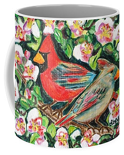 Coffee Mug featuring the painting Cardinals In An Apple Tree by Diane Pape