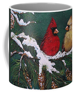 Cardinals In The Snow Coffee Mug