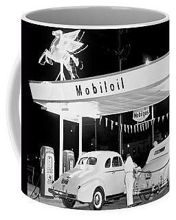 Cars At A Mobil Gas Station Coffee Mug