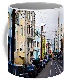 Cars Parked On The Street, Transamerica Coffee Mug