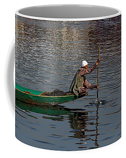 Cartoon - Man Plying A Wooden Boat On The Dal Lake Coffee Mug