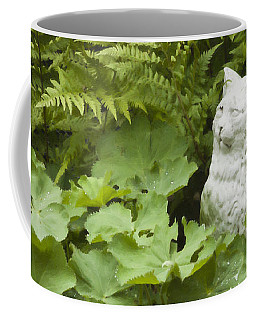 Coffee Mug featuring the photograph Cat Among The Lady's Mantel And Ferns Digital Oil Art Work  by Sandra Foster