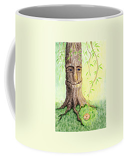 Coffee Mug featuring the drawing Cat And Great Mother Tree by Keiko Katsuta