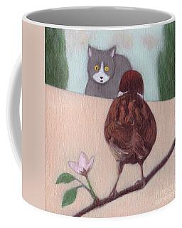 Cat And Sparrow  Coffee Mug