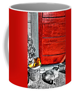 Cat By The Red Door Coffee Mug