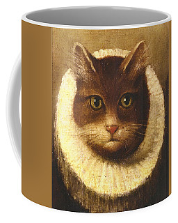 Cat In A Ruff Coffee Mug by Vintage Art
