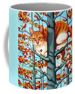 Orange Cat In Tree Autumn Fall Colors Coffee Mug