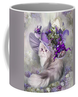 Cat In Easter Lilac Hat Coffee Mug by Carol Cavalaris