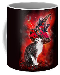 Coffee Mug featuring the mixed media Cat In Fancy Witch Hat 1 by Carol Cavalaris