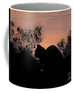 Coffee Mug featuring the drawing Cat - Orange - Silhouette by D Hackett