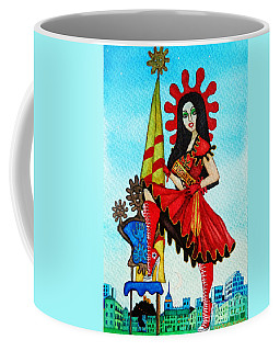 Coffee Mug featuring the painting Catalan Girl In Converse by Don Pedro De Gracia