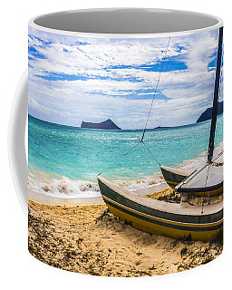 Coffee Mug featuring the photograph Catamaran On Waimanalo Beach by Leigh Anne Meeks