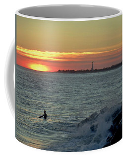 Catching A Wave At Sunset Coffee Mug by Ed Sweeney