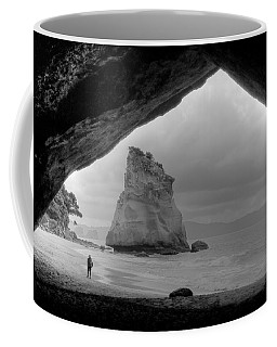 Cathedral Cove Monochrome Coffee Mug by Peter Mooyman