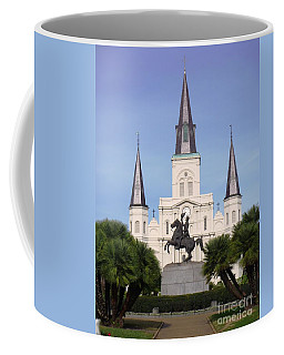 Coffee Mug featuring the photograph Cathedral In Jackson Square by Alys Caviness-Gober