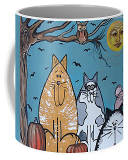 Cats And Harvest Moon Coffee Mug