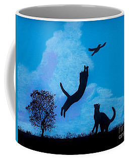 Coffee Mug featuring the drawing Cats -  Playing by D Hackett