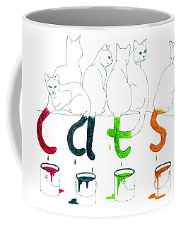 Cats With Paint Cans Coffee Mug by Patricia Overmoyer