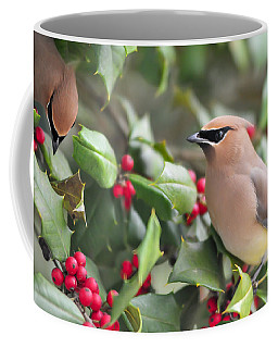 Cedar Waxwing In Holly Tree Coffee Mug