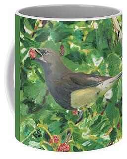 Cedar Waxwing Eating Mulberry Coffee Mug