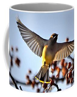 Cedar Waxwing Flight Coffee Mug
